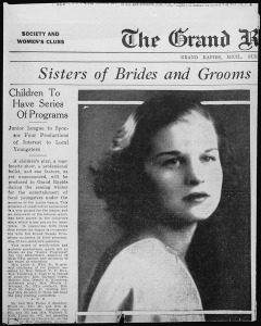 Part of the society page from the Grand Rapids Herald. The woman pictured, Betty Bloomer, is better known a former first lady Betty Ford. Source: WikiMedia Commons