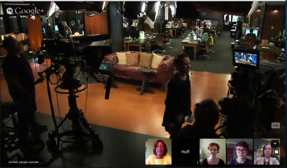The HuffPostLive set as seen on my laptop.